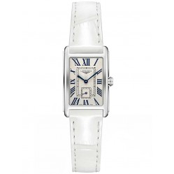Longines DolceVita Silver Dial White Leather Strap Watch L52554712