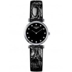 Longines La Grande Classique Diamond Set Black Dial Leather Strap Watch L42094582