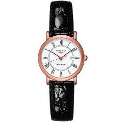 Longines Elegant 18ct Rose Gold White Dial Black Leather Strap Watch L43788110