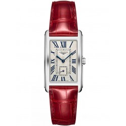 Longines DolceVita Silver Dial Red Leather Strap Watch L57554715