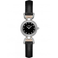 Longines Equestrian Diamond Set Black Dial Black Leather Strap Watch L61290570
