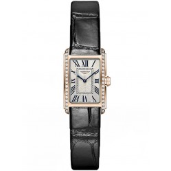 Longines DolceVita 18ct Rose Gold Diamond Set Black Leather Strap Watch L52589710
