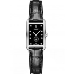 Longines DolceVita Diamond Set Black Dial Leather Strap Watch L52554570