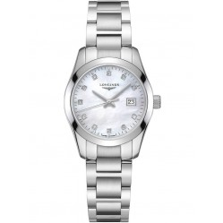 Longines Conquest Diamond Set Mother of Pearl Dial Silver Bracelet Watch L22864876