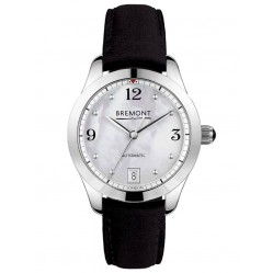 Bremont SOLO-34 AJ White Mother of Pearl Dial Black Strap Watch SOLO-34 AJ/MP
