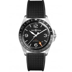 Bell & Ross Mens Vintage Black Steel GMT Watch BRV293-BL-ST/SRB