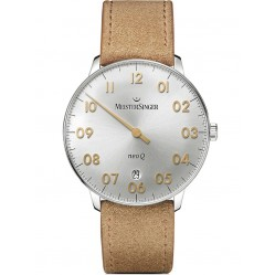 MeisterSinger Mens Neo Q Sunburst Silver Leather Strap Watch NQ901GN