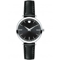 Movado Ladies Ultra Slim Black Watch 0607094