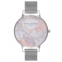 Olivia Burton Abstract Florals Rose Gold Silver Mesh Bracelet Watch OB16VM20