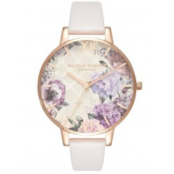 Olivia Burton Glasshouse Rose Gold And Blush Leather Strap Watch OB16EG97