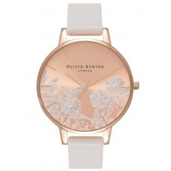 Olivia Burton Lace Detail Rose Gold And Rose Sunray Strap Watch OB16MV53