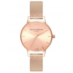 Olivia Burton Midi Sunray Dial Rose Gold Mesh Bracelet Watch OB16MD84