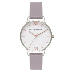 Olivia Burton White Dial Rose Gold And Silver Grey Lilac Strap Watch OB16MDW26