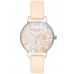 Olivia Burton Abstract Florals Silver And Nude Peach Strap Watch OB16VM27