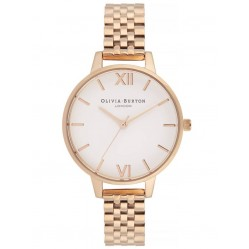 Olivia Burton White Dial  Rose Gold Plated Bracelet Watch OB16DEW01
