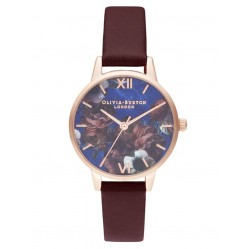 Olivia Burton Midi Rose Gold Plated Lapis Lazuli Burgundy Leather Strap Watch OB16SP10