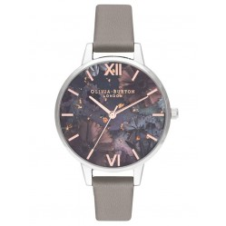 Olivia Burton Celestial Demi Dial London Grey Leather Strap Watch OB16GD26