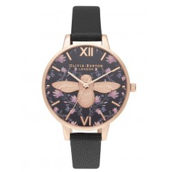 Olivia Burton Meant To Bee Rose Gold Plated Demi Dial Black Leather Strap Watch OB16AM165
