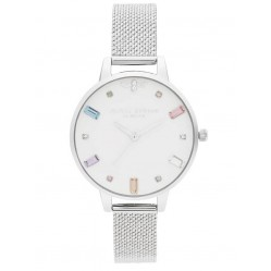 Olivia Burton Rainbow Bee Demi Dial Silver Boucle Mesh Strap Watch OB16RB10