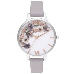 Olivia Burton Watercolor Florals Demi Dial Grey Lilac Leather Strap Watch OB16PP56
