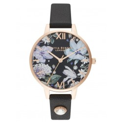 Olivia Burton Bejewelled Florals Rose Gold Plated Embellished Dial Black Leather Strap Watch OB16BF23