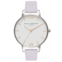 Olivia Burton White Dial Stainless Steel Parma Violet Leather Strap Watch OB16BDW37
