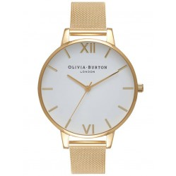Olivia Burton White Dial Gold Plated Mesh Strap Watch OB15BD84