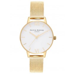 Olivia Burton White Dial Small Gold Plated Mesh Strap Watch OB16MDW35