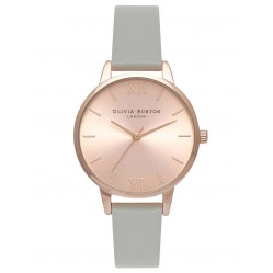 Olivia Burton Midi Dial Rose Gold Plated Grey Leather Strap Watch OB15MD46