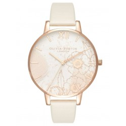 Olivia Burton Abstract Florals Rose Gold Plated Nude Strap Watch OB16VM25