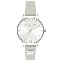 Olivia Burton Silver Butterfly Embellished Grey Leather Strap Watch OB16MD93