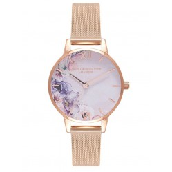 Olivia Burton Watercolour Florals Rose Gold Plated Mesh Strap Watch OB16PP39