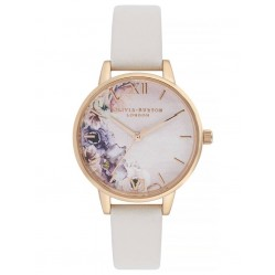 Olivia Burton Watercolour Florals Gold Plated Midi Dial Blush Leather Strap Watch OB16PP54