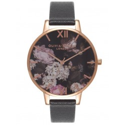 Olivia Burton Signature Florals Rose Gold Plated Black Leather Strap Watch OB15WG12