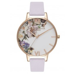 Olivia Burton Enchanted Garden Rose Gold Plated Parma Voilet Leather Strap Watch OB16EG110