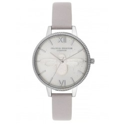 Olivia Burton Celestial 3D Bee Demi Dial Grey Lilac Leather Strap Watch OB16GD05