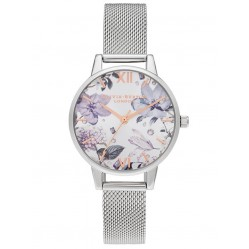 Olivia Burton Bejewelled Florals Midi Dial Stainless Steel Mesh Strap Watch OB16BF26