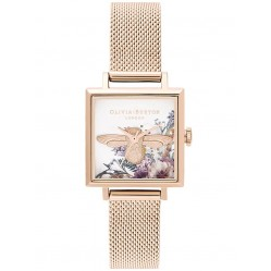 Olivia Burton Enchanted Garden Square Dial and Pale Rose Gold Mesh Strap Watch OB16EG152