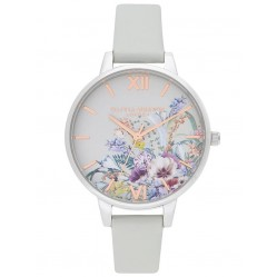 Olivia Burton Enchanted Garden Silver and Grey Strap Watch OB16EG153