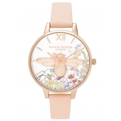 Olivia Burton Enchanted Garden Pale Rose Gold and Nude Peach Leather Strap Watch OB16EG151
