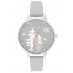 Olivia Burton Winter Wonderland Rose Gold, Silver and Grey Strap Watch OB16AW02