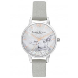 Olivia Burton Winter Wonderland Silver and Grey Leather Strap Watch OB16WL86