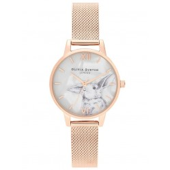 Olivia Burton Winter Wonderland Rose Gold Mesh Strap Watch OB16WL85
