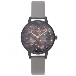 Olivia Burton Celestial Matte Black and London Grey Strap Watch OB16AD50