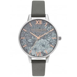 Olivia Burton Terrazzo Florals Silver and Dark Grey Leather Strap Watch OB16TZ05