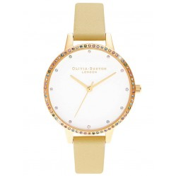 Olivia Burton Rainbow Bezel Gold and Sunshine Leather Strap Watch OB16RB20