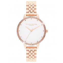 Olivia Burton Rainbow Bezel White Dial Rose Gold Bracelet Watch OB16RB21