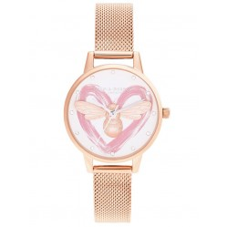 Olivia Burton You Have My Heart Lucky Bee Silver and Rose Gold Mesh Strap Watch OB16FB01