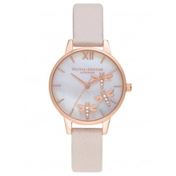 Olivia Burton Dancing Dragonfly Rose Gold Blush Faux Mother of Pearl Dial Pearl Pink Leather Strap Watch OB16GB01