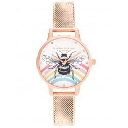Olivia Burton Illustrated Animals Rainbow Bee Rose Gold Mesh Strap Watch OB16WL90